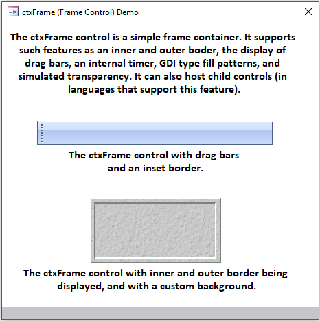 ctxFrame - 32 bit / 64 bit ActiveX box frame and container Control - by DBI Technologies Inc.