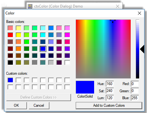 ctxColor 32 bit and 64 bit ActiveX Color Picker Control - by DBI Technologies Inc. - found in Studio Controls COM