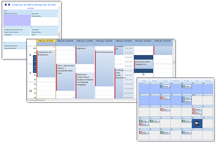 Calendar COM 64 - 3 appointment scheduling controls in 1 - by DBI Technologies Inc.