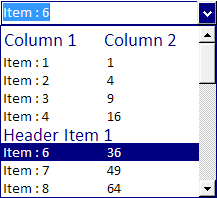 ctCombo - ActiveX  COM multi column drop down combo box - by DBI Technologies Inc - found in Studio Controls COM