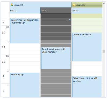 ctxCalendar - Multi Column Day View, Grouping and Sorting by Contract, Task Location