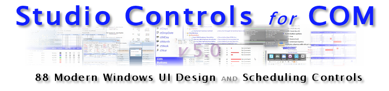 Studio Controls COM - 88 ActiveX Controls for snap-in Scheduling and UI Design application Development - MS Access, VFP, VC++, LabVIEW, Delphi, Progress and more