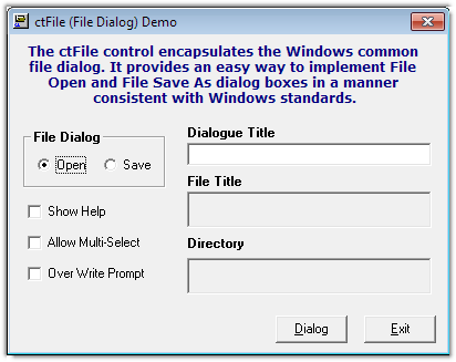 ctFile - ActiveX  COM open | save dialog - by DBI Technologies Inc. - found in Studio Controls COM