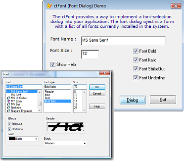 ctFont - ActiveX  COM Font Selection Control - by DBI Technologies Inc. - found in Studio Controls COM