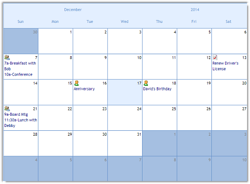 ctMonth - ActiveX  COM Month Presentation Calendar Control - by DBI Technologies Inc. - found in Studio Controls COM