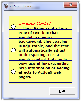 ctPaper - ActiveX  COM Lined Paper Control - by DBI Technologies Inc. - found in Studio Controls COM