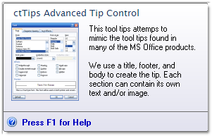 ctTips - ActiveX  COM  Advance Tool Tip Control - by DBI Technologies Inc. - found in Studio Controls COM