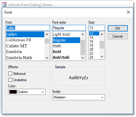 ctxFont - ActiveX  COM Font Selection Control - by DBI Technologies Inc. - found in Studio Controls COM